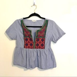 Embroidered American Eagle cropped peplum